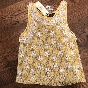 Yellow Lace Beaded Tank